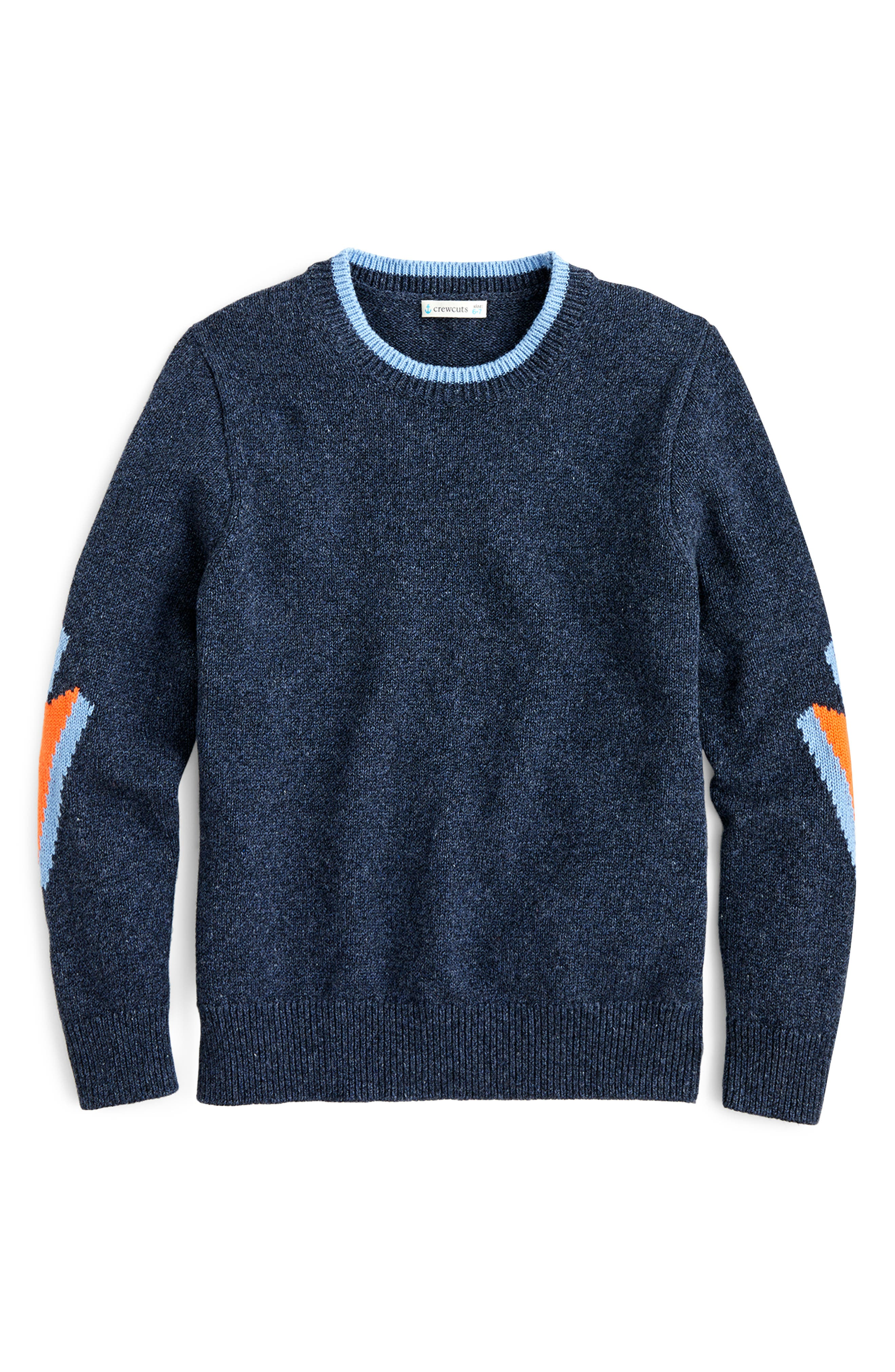 Boys Crewcuts By Jcrew Lightning Bolt Cotton Crewneck Sweater Size 16  Blue