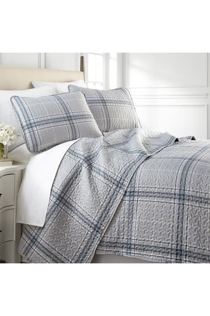 Image of SOUTHSHORE FINE LINENS Full/Queen Luxury Premium Collection Ultra-Soft Quilt Cover Set - Plaid Grey