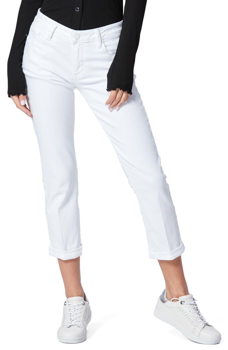 PAIGE Brigitte Crop Boyfriend Jeans, Main, color, CRISP WHITE