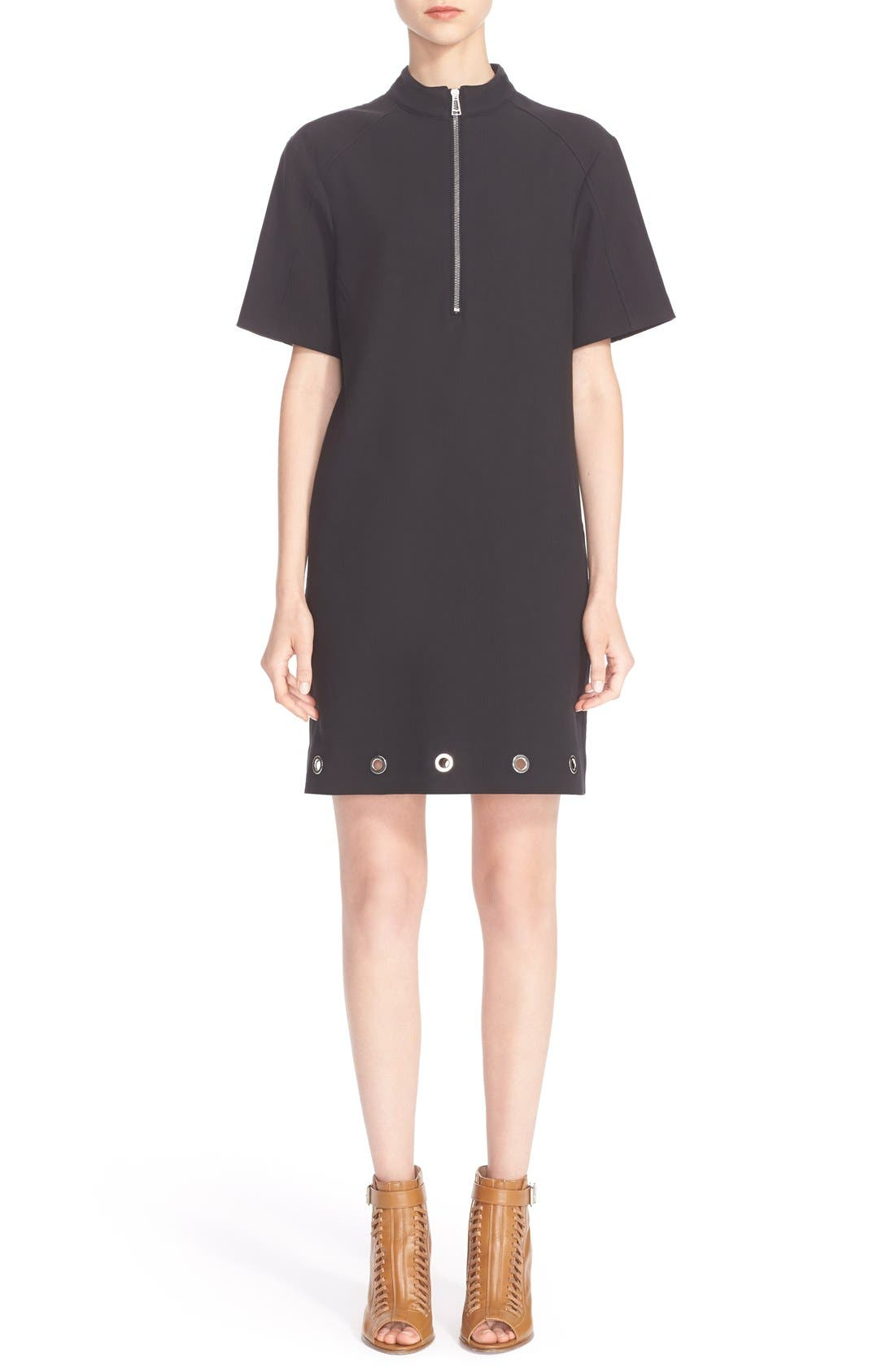 Grommet Detail Stretch Cotton Shift Dress, Main, color, 001