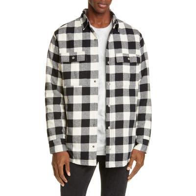 Ksubi Snap-Up Flannel Shirt Jacket, Black