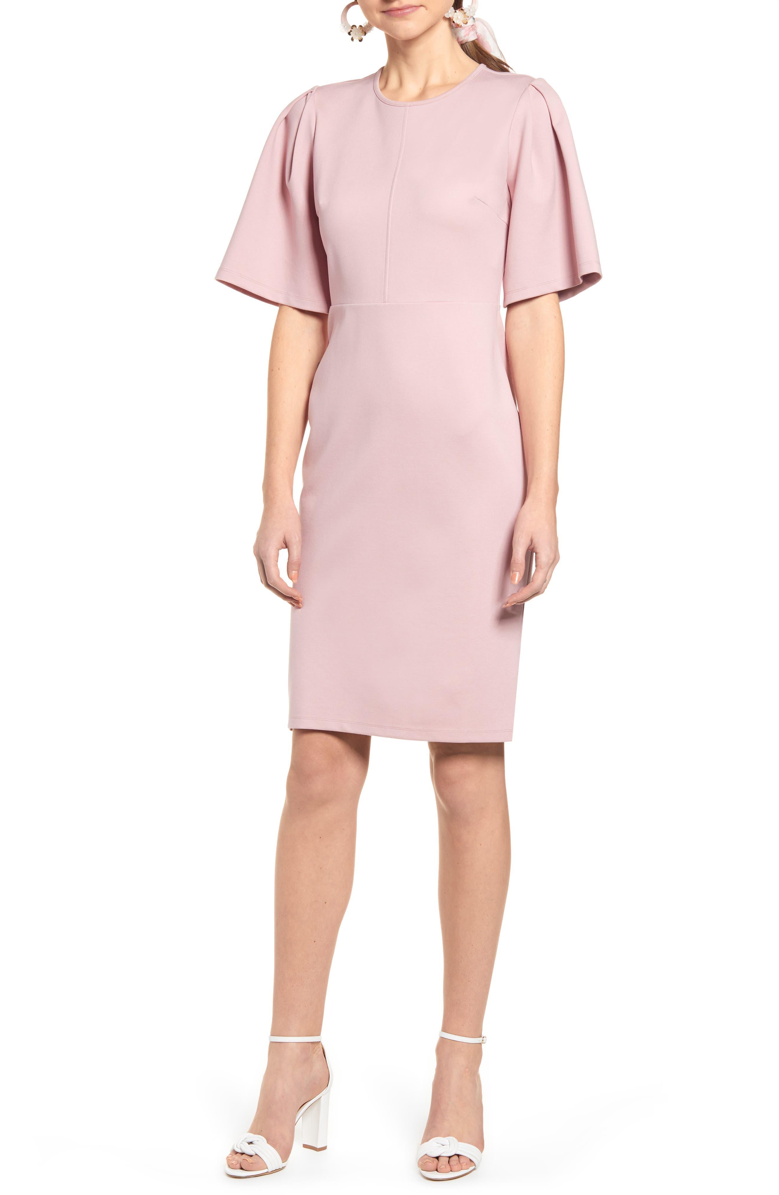 Rachel Parcell Flutter Sleeve Ponte Dress, Purple (Nordstrom Exclusive)