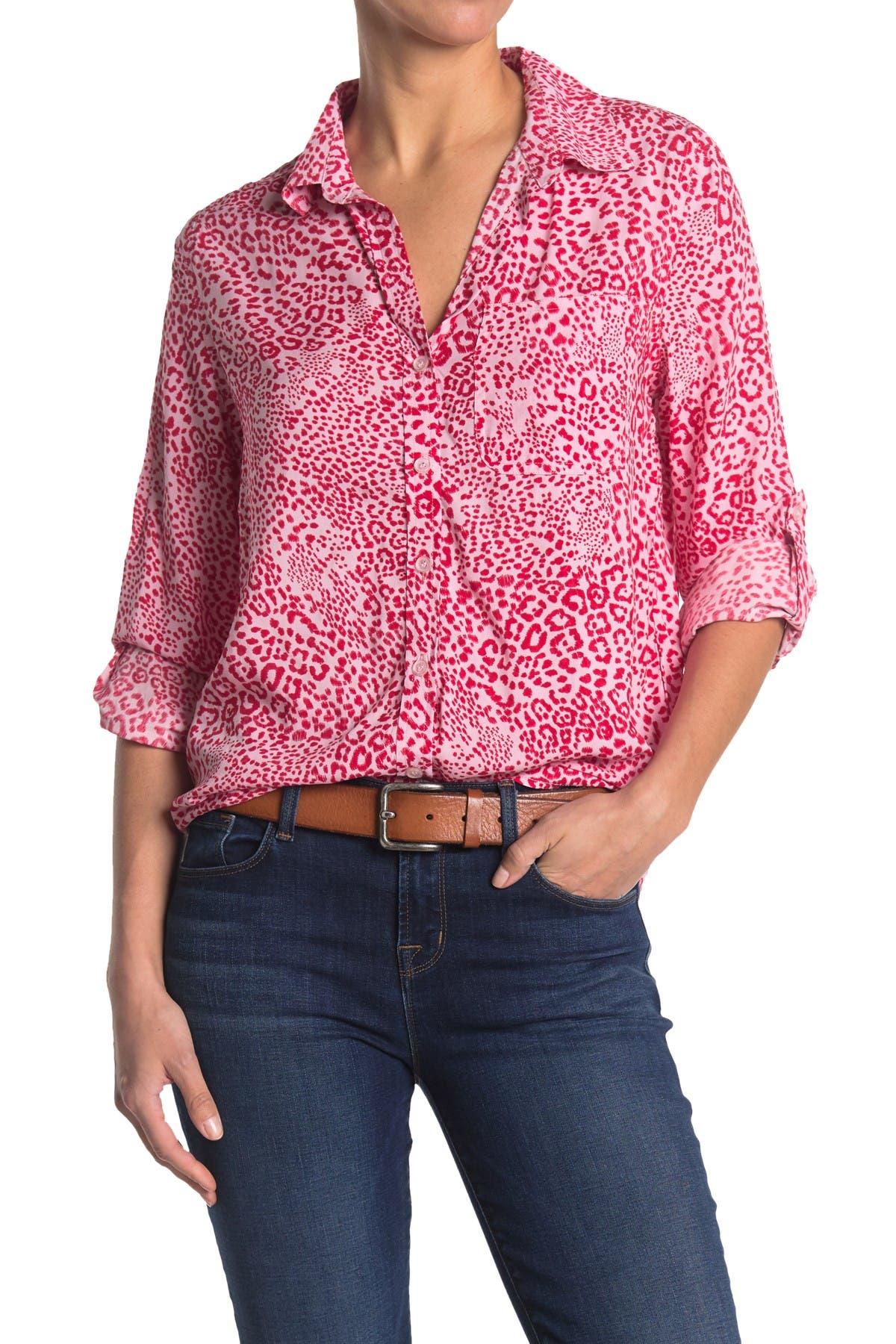 Image of Velvet Heart Elisa Button Front Animal Print Blouse