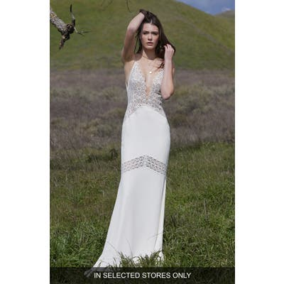 Willowby Charlize Lace & Georgette Sheath Wedding Dress, Size - Ivory