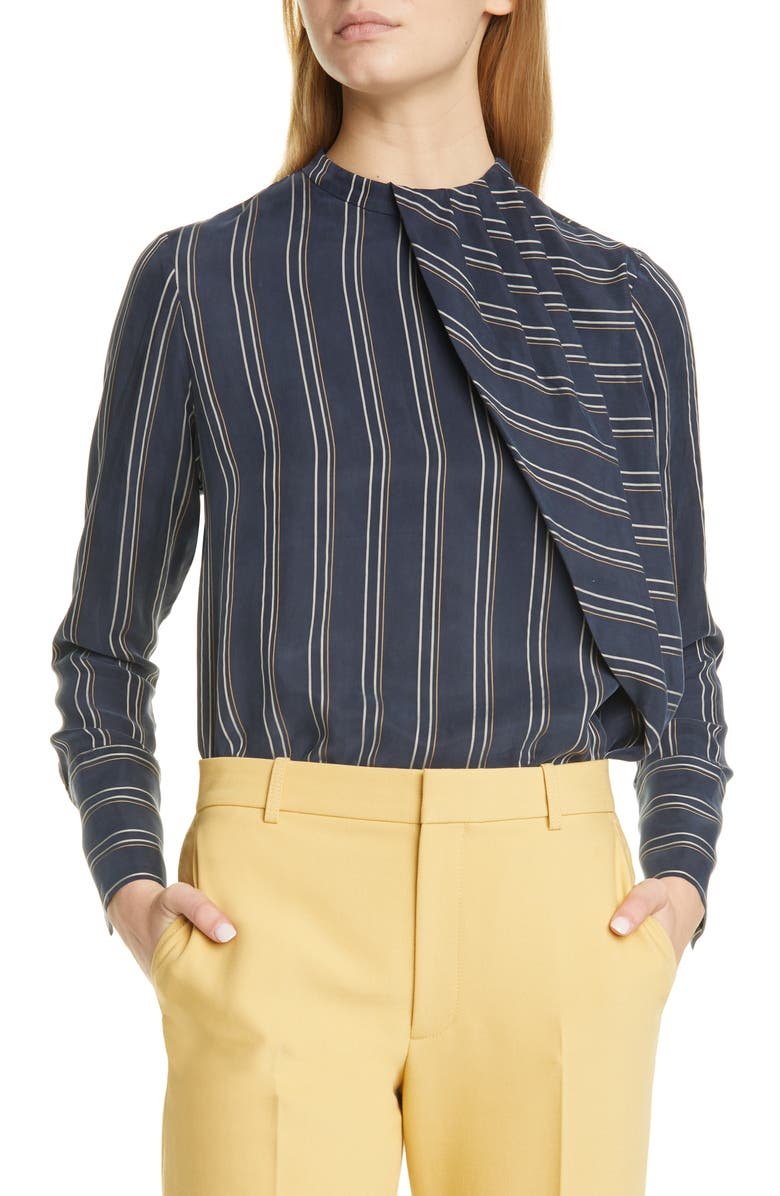 CLUB MONACO Stripe Asymmetrical Pleat Top, Main, color, 410