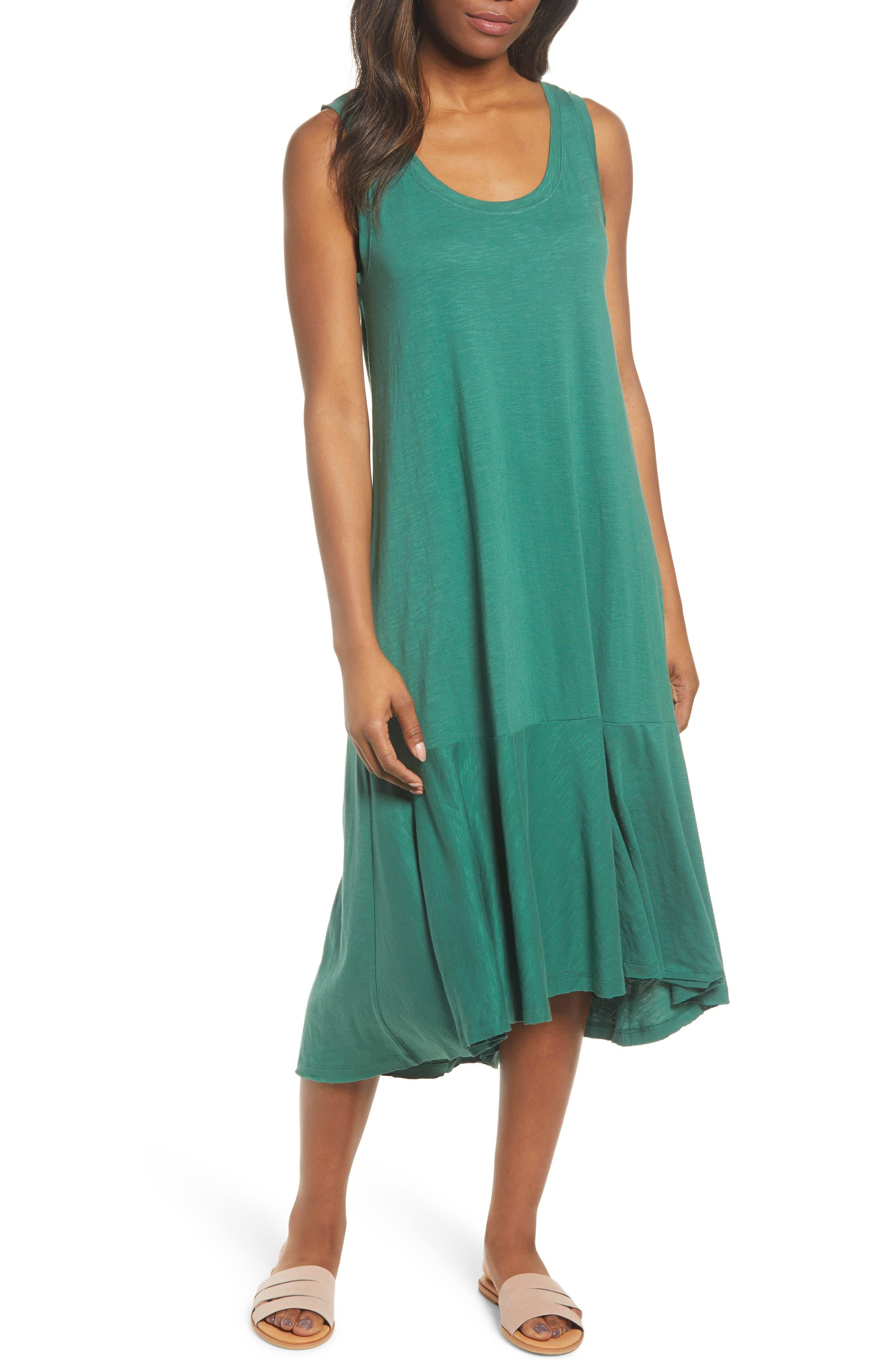 Petite Caslon Drop Waist Jersey Dress, Green