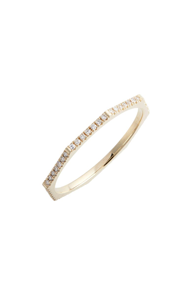 EF COLLECTION Diamond Octagon Ring, Main, color, YELLOW GOLD/ DIA