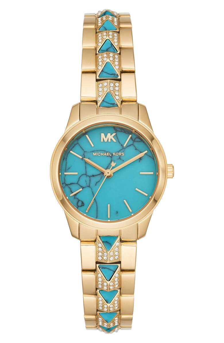 MICHAEL MICHAEL KORS Runway Mercer Bracelet Watch, 28mm, Main, color, GOLD/ TURQUOISE/ GOLD