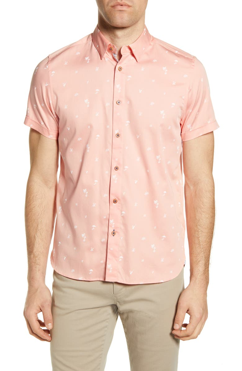 TED BAKER LONDON Slim Fit Tropical Print Short Sleeve Button-Up Shirt, Main, color, CORAL