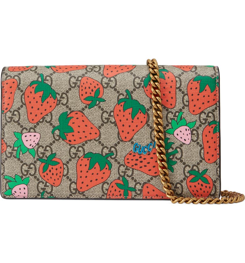 Strawberry Print Gg Supreme Wallet On A Chain by Gucci