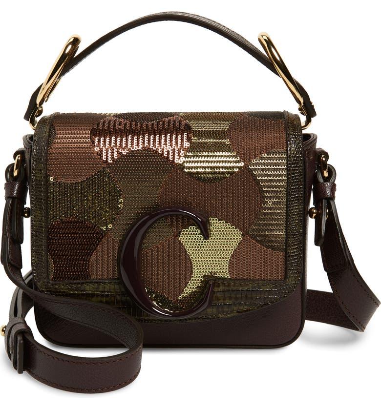 CHLOÉ Mini C Sequin Camo Leather Shoulder Bag, Main, color, BLACK RAISIN
