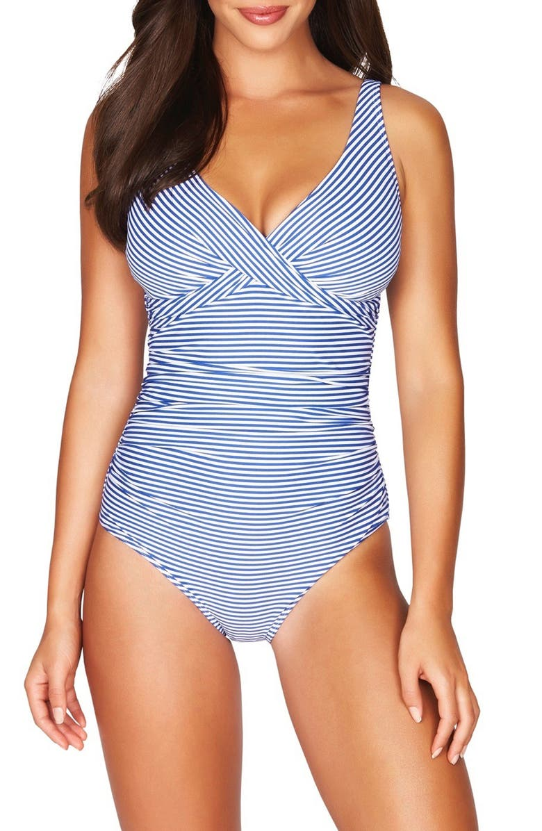 SEA LEVEL Cross Front Stripe One-Piece Swimsuit, Main, color, 420