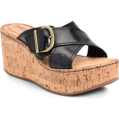 B?rn Devona Platform Wedge Sandal, Black