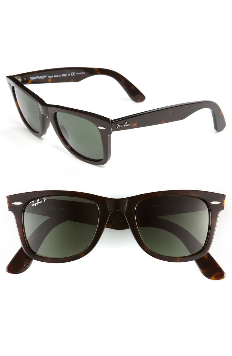 RAY-BAN Standard Classic Wayfarer 50mm Polarized Sunglasses, Main, color, TORTOISE POLARIZED
