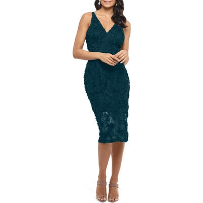 Xscape 3D Floral Cocktail Dress, Green