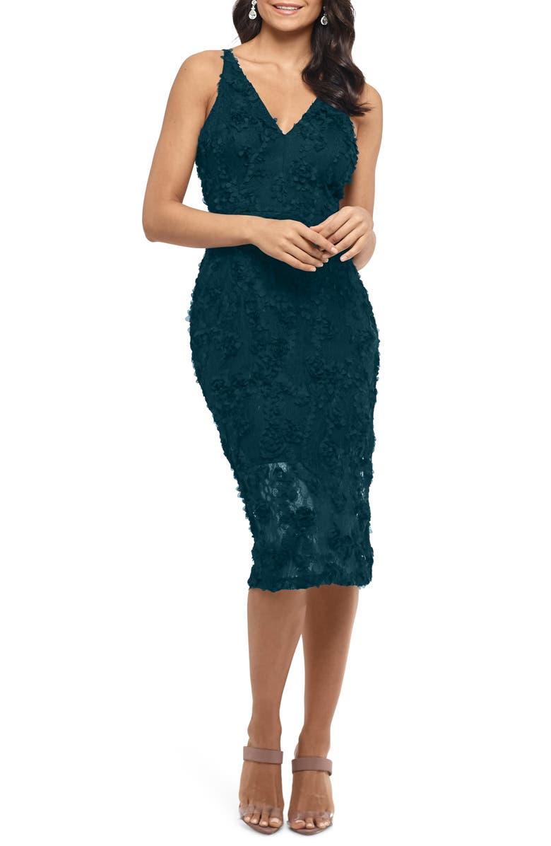 XSCAPE 3D Floral Cocktail Dress, Main, color, HUNTER