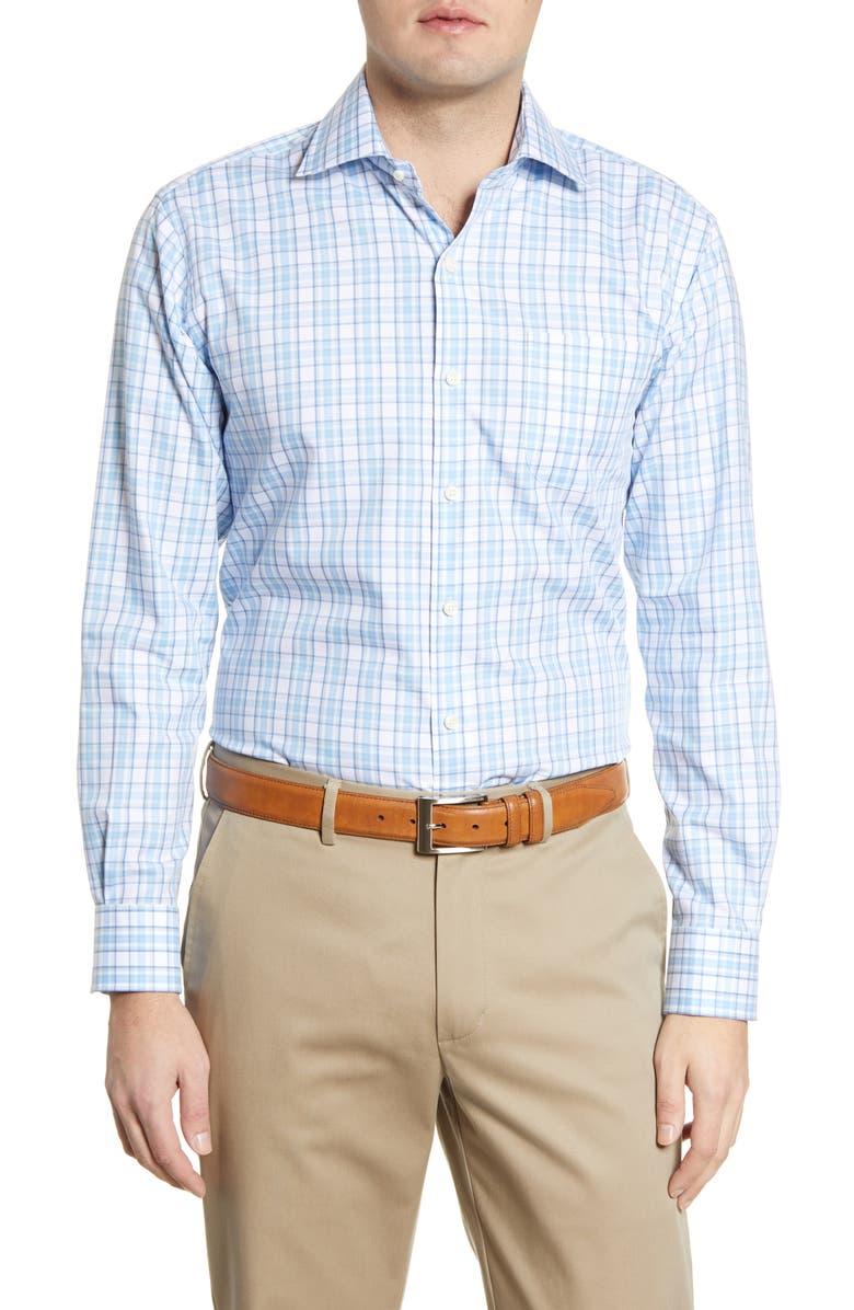 PETER MILLAR Sanford Grand Classic Fit Plaid Button-Up Shirt, Main, color, LAKE BLUE