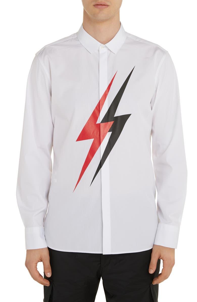 NEIL BARRETT Thunderbolt Button-Up Shirt, Main, color, WHITE/ RED/ BLACK