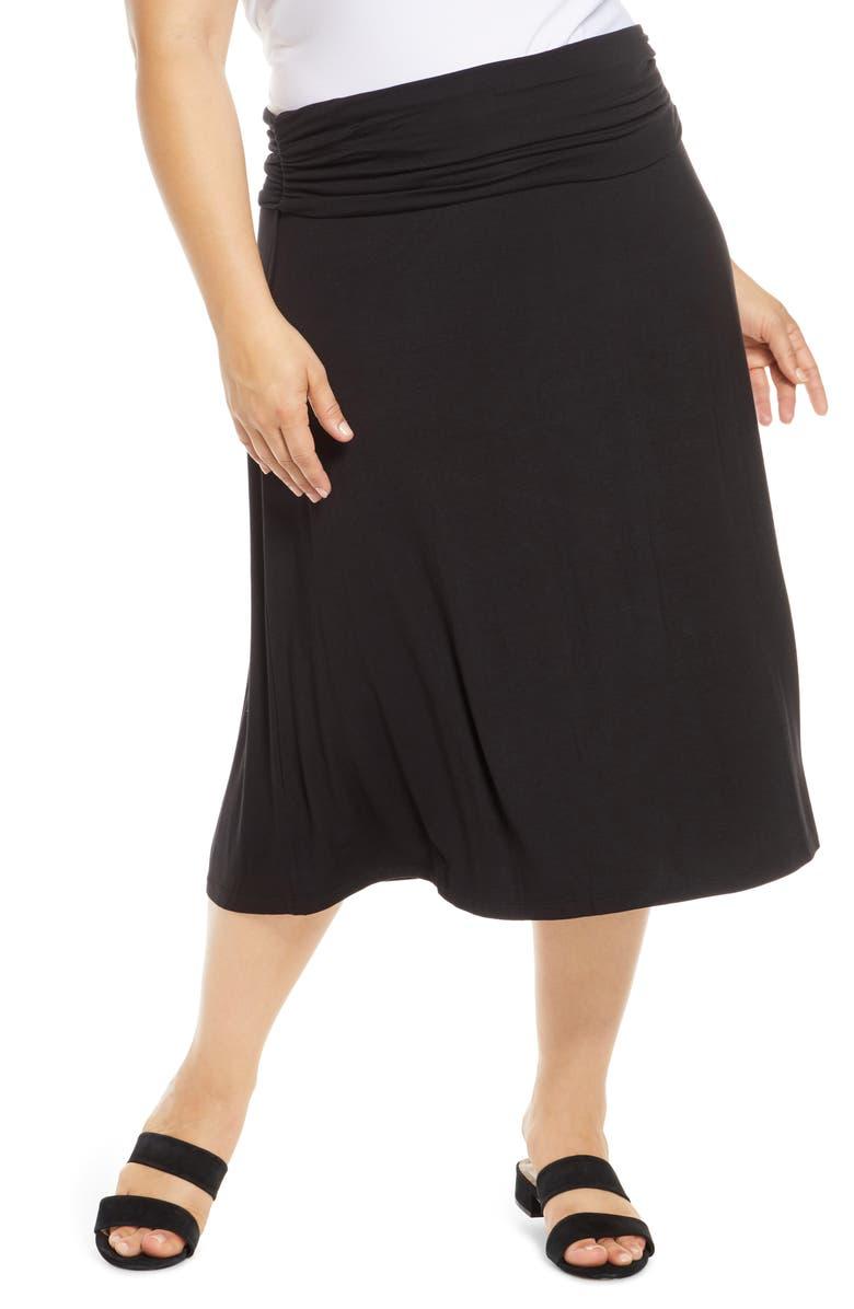 BOBEAU Andie Convertible Knit Skirt, Main, color, BLACK
