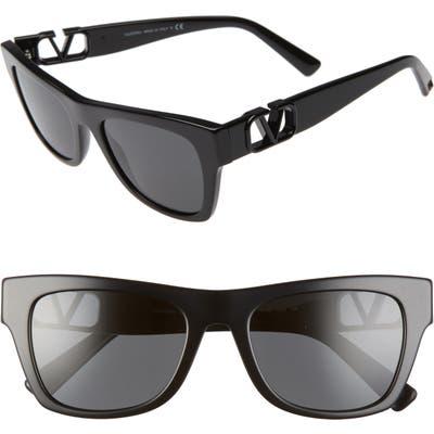 Valentino 52Mm Polarized Sunglasses - Black/ Smoke Solid