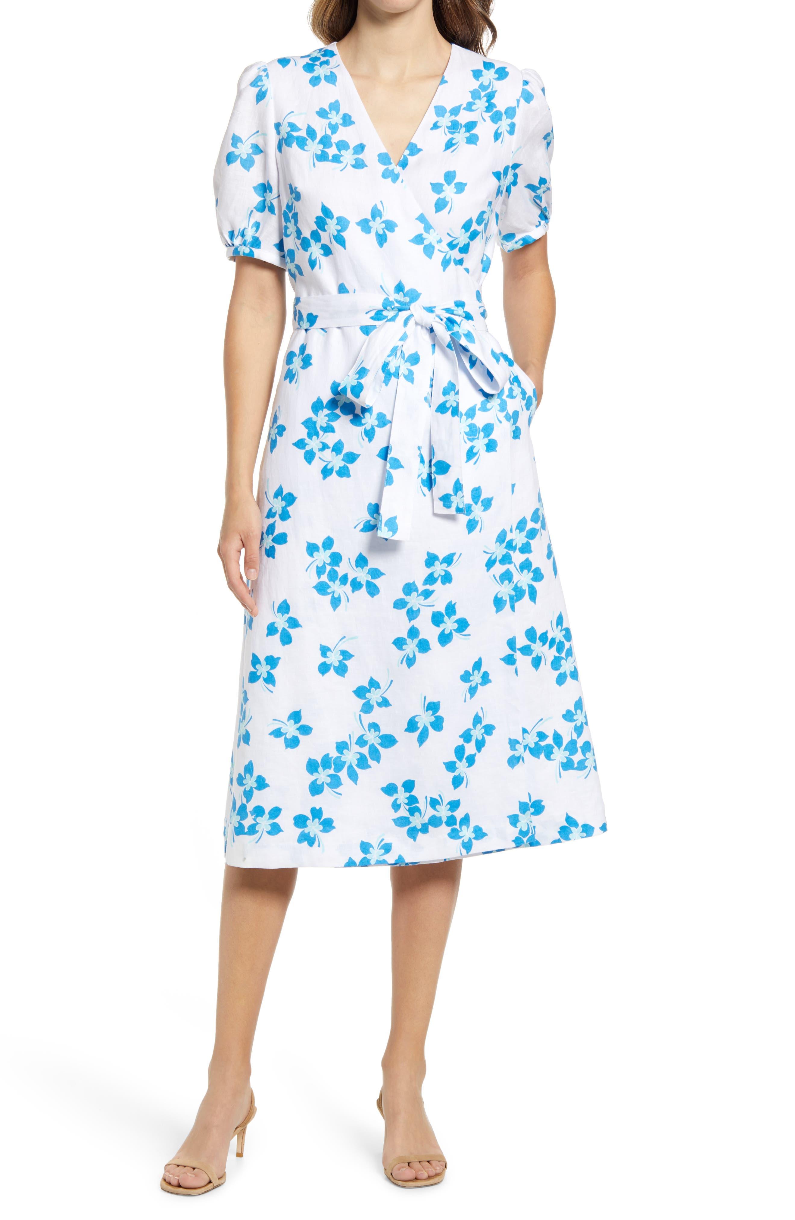 Miranda Floral Linen Wrap Dress