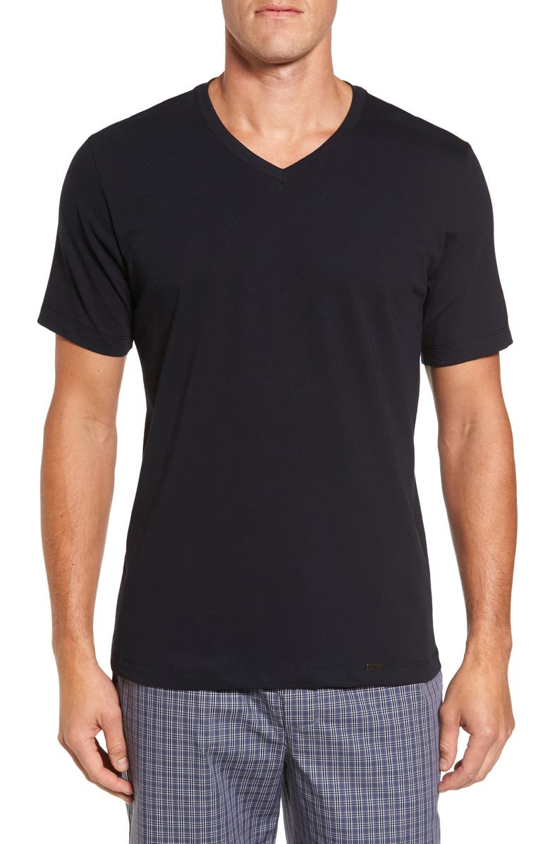 HANRO Living V-Neck T-Shirt, Main, color, 002