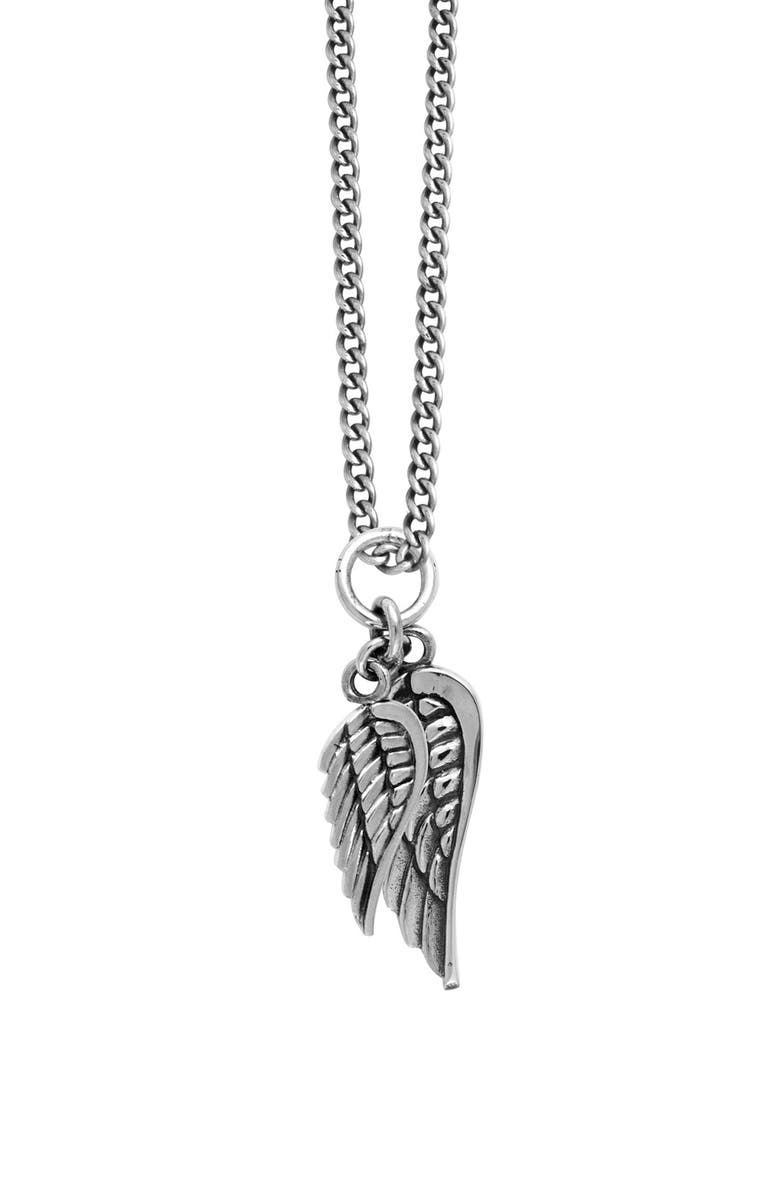 KING BABY Sterling Silver Wing Pendant Necklace, Main, color, SILVER
