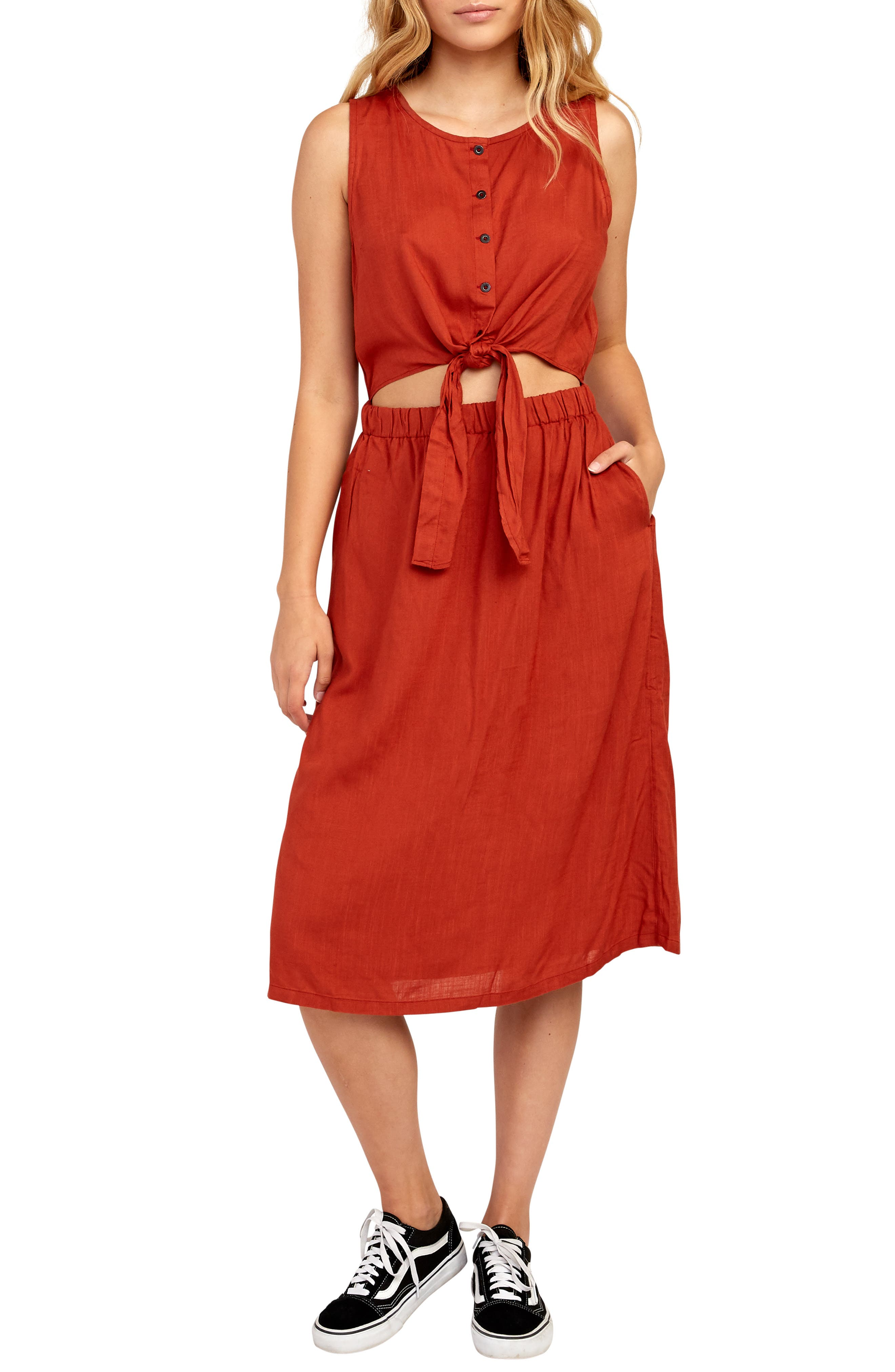 Rvca Arizona Cutout Waist Midi Dress, Red