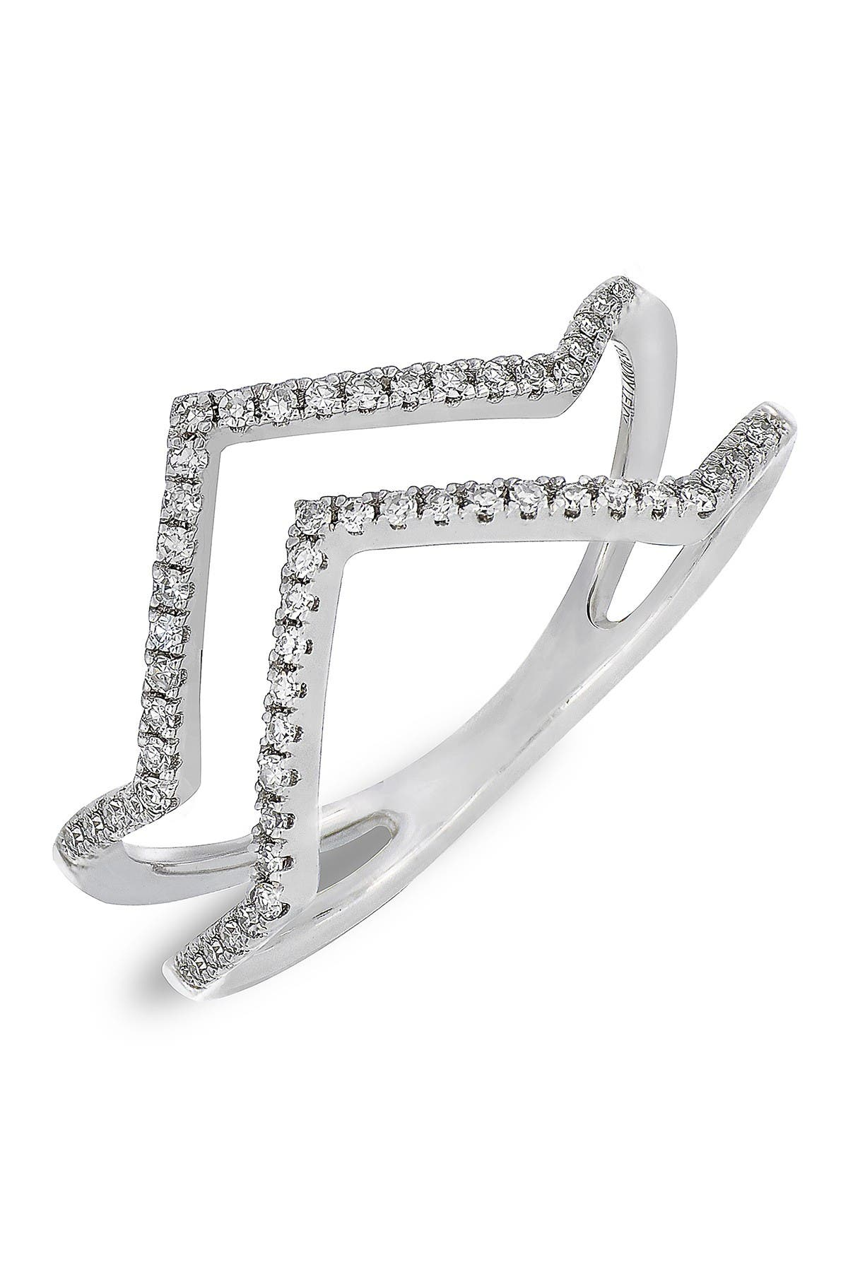 Image of Carriere Sterling Silver Pave Diamond Zigzag Double Band Ring - 0.17 ctw