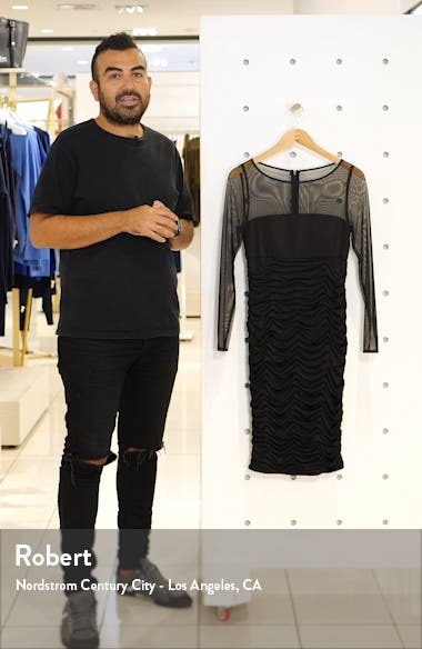 Ruched Long Sleeve Illusion Mesh Cocktail Dress, sales video thumbnail