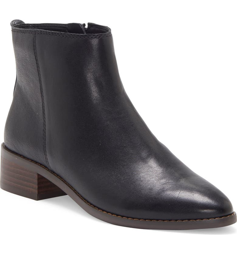 LUCKY BRAND Lenree Almond Toe Bootie, Main, color, BLACK LEATHER
