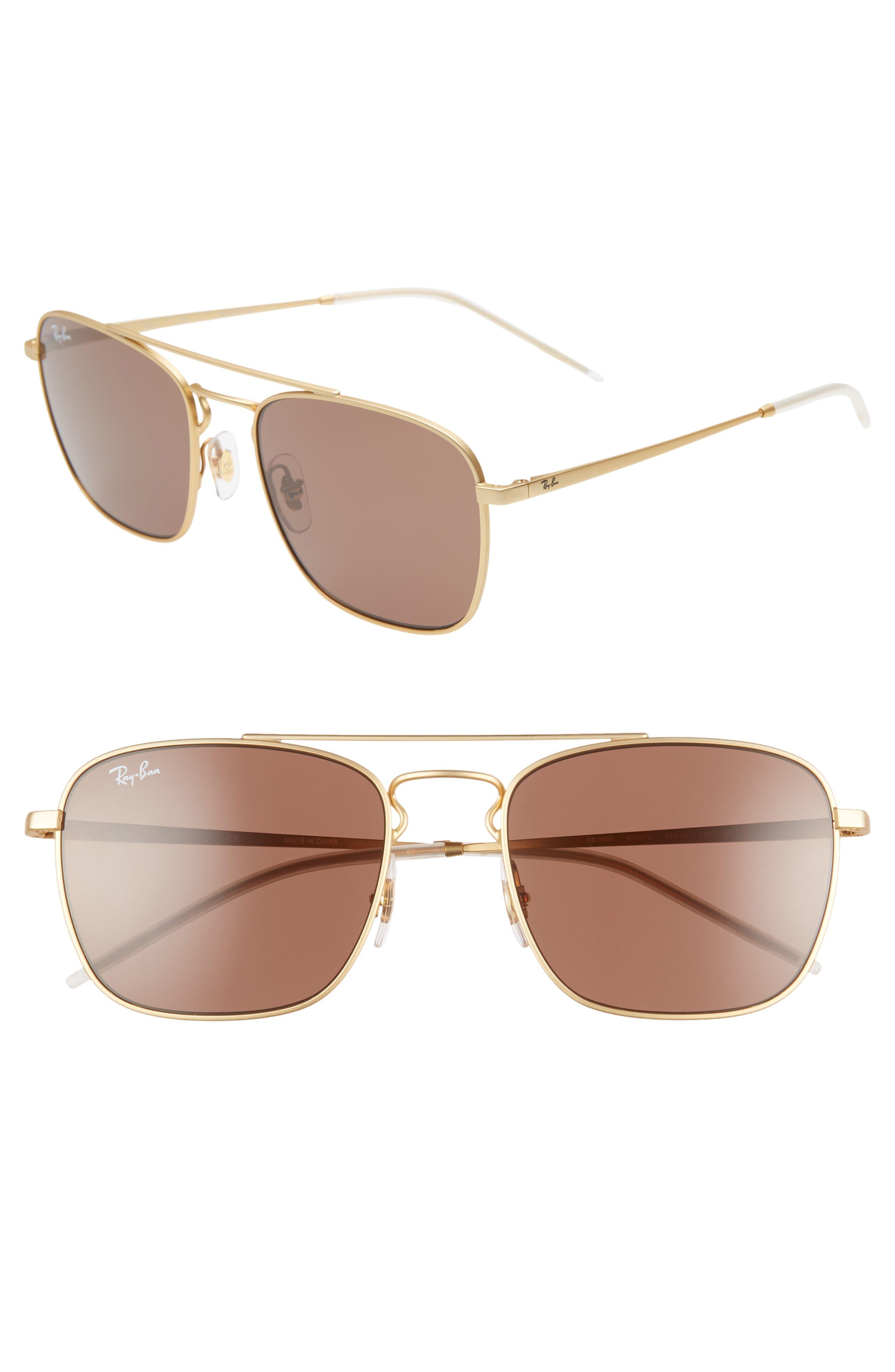 Ray-Ban 55Mm Navigator Sunglasses - Gold/ Brown Solid