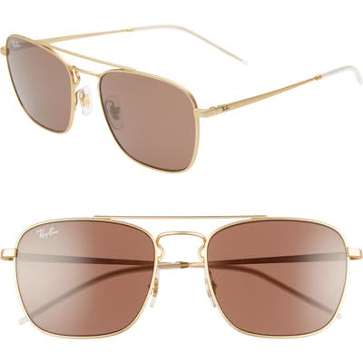 Ray-Ban 55Mm Navigator Sunglasses - Gold/ Brown Solid