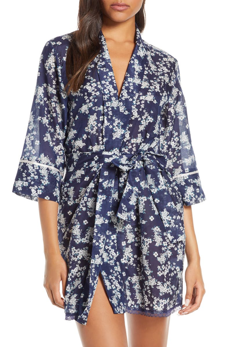 PAPINELLE Isabelle Short Silk Blend Robe, Main, color, NAVY