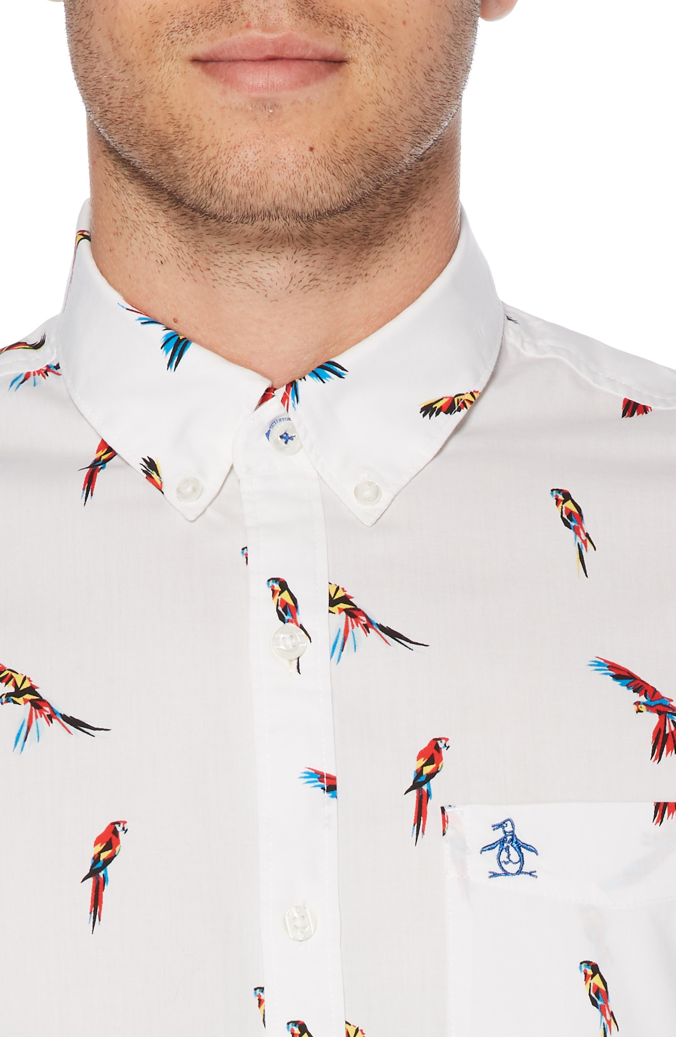 ,                             Parrot Print Slim Fit Woven Shirt,                             Alternate thumbnail 2, color,                             BRIGHT WHITE