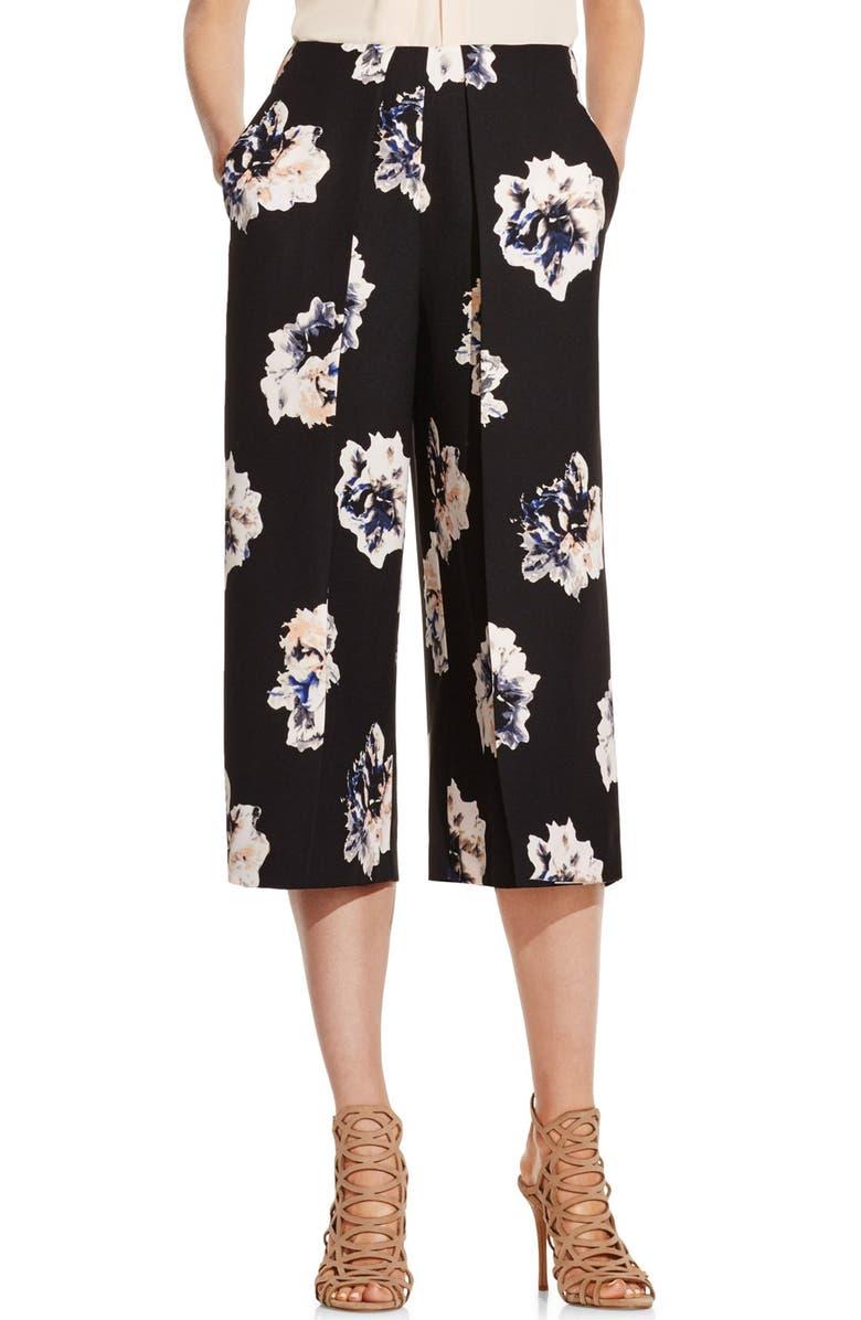 VINCE CAMUTO 'Duet Floral' Print Culottes, Main, color, 001
