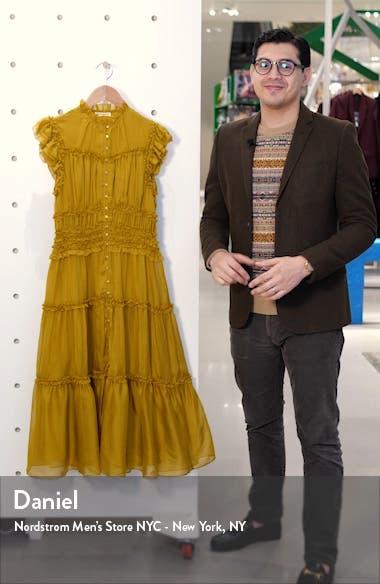 Rosalind Ruffle Tier Silk Midi Dress, sales video thumbnail