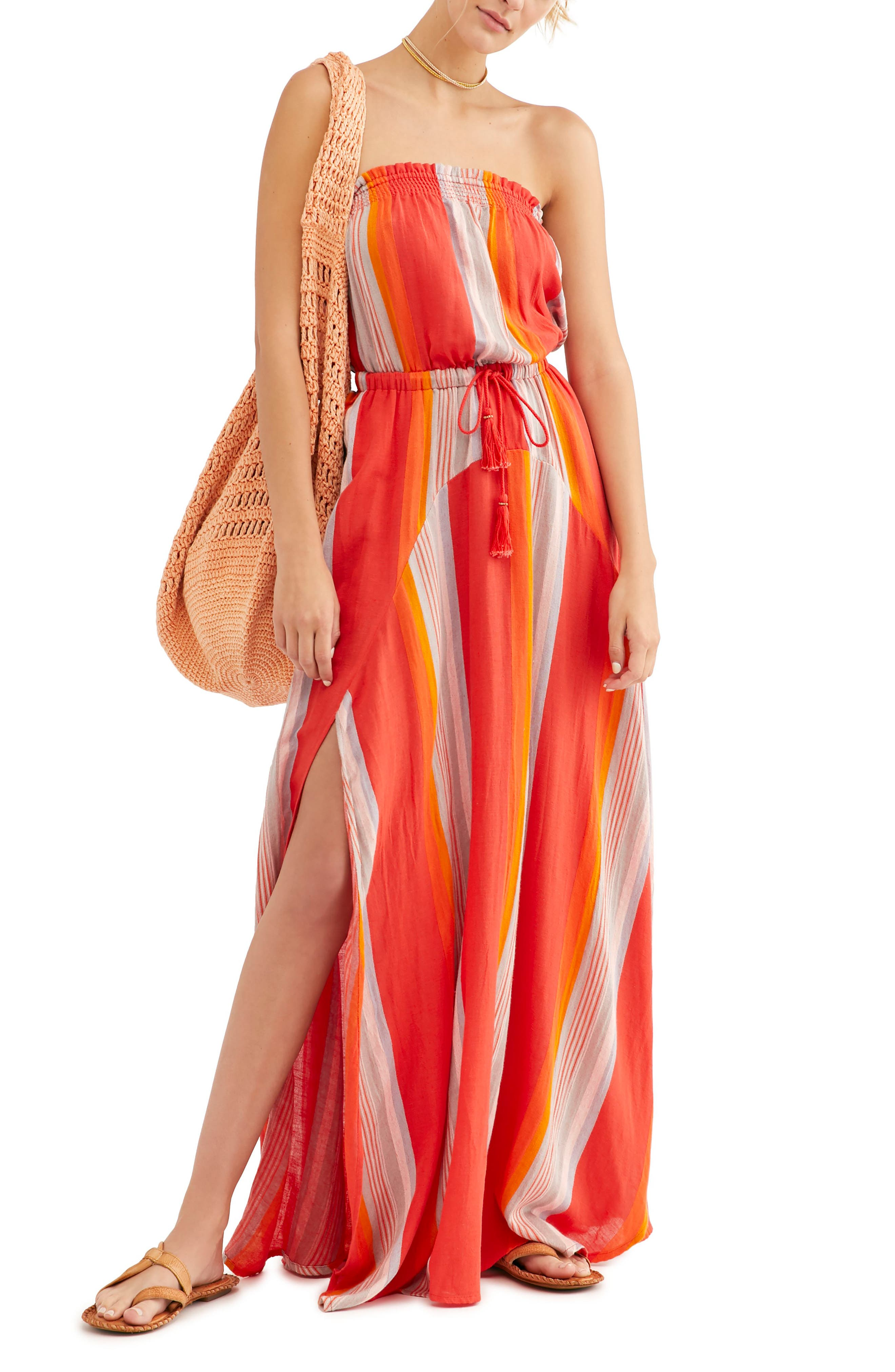 Endless Summer By Free People Calling Your Name Strapless Maxi Dress, Red