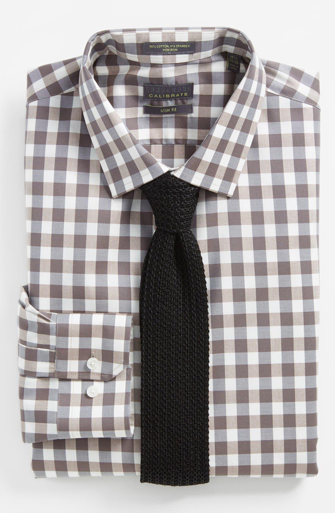 ,                             Slim Fit Non Iron Gingham Dress Shirt,                             Alternate thumbnail 7, color,                             260