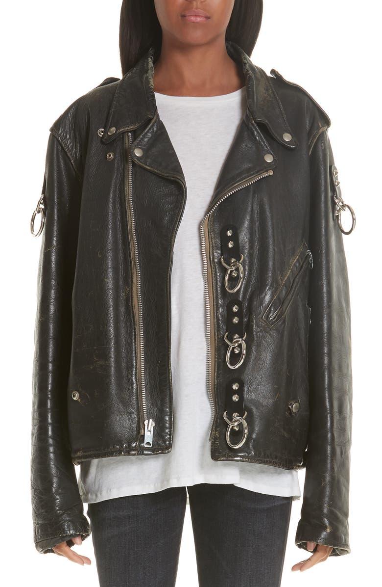 R13 Refurbished Leather Moto Jacket, Main, color, 001