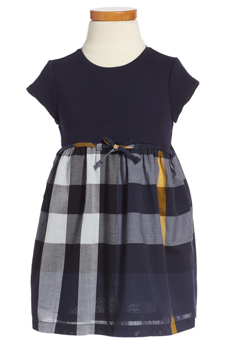 BURBERRY Mini Rosey Check Dress, Main, color, 412