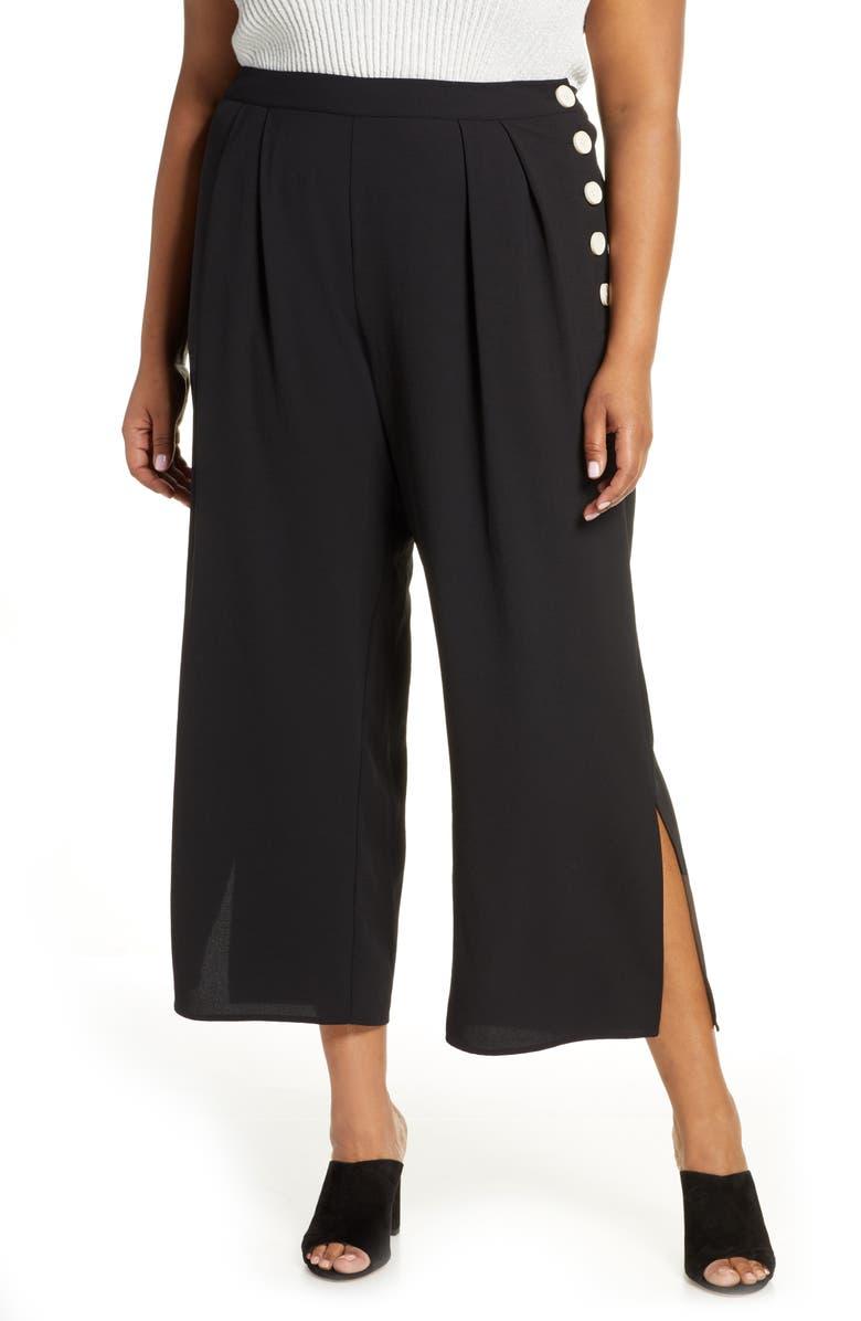 VINCE CAMUTO Side Button Summer Crepe Wide Leg Crop Pants, Main, color, RICH BLACK