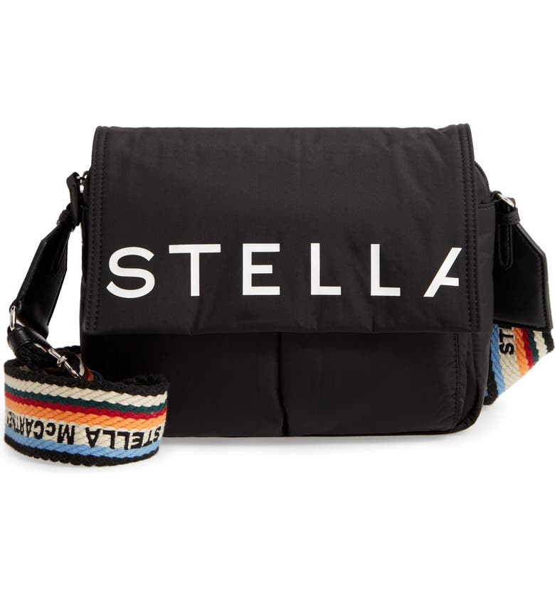 STELLA MCCARTNEY Medium Padded Eco Nylon Shoulder Bag, Main, color, BLACK