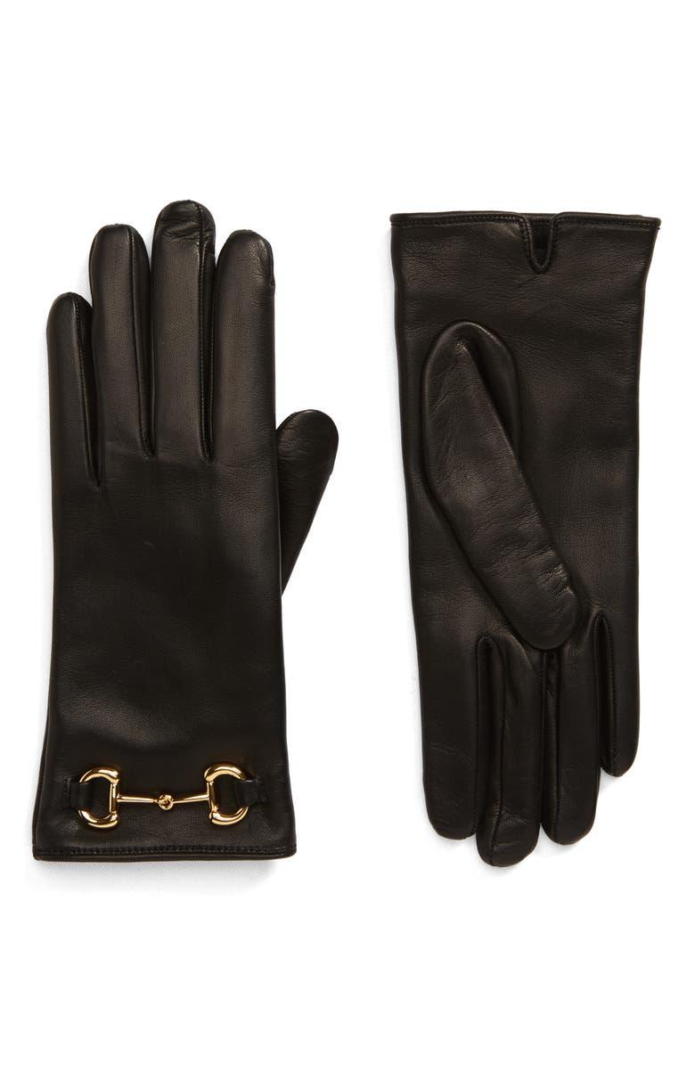 GUCCI Horsebit Nappa Leather Gloves, Main, color, NERO
