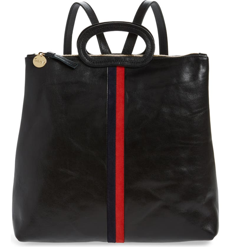 CLARE V. Marcelle Leather Backpack, Main, color, 001