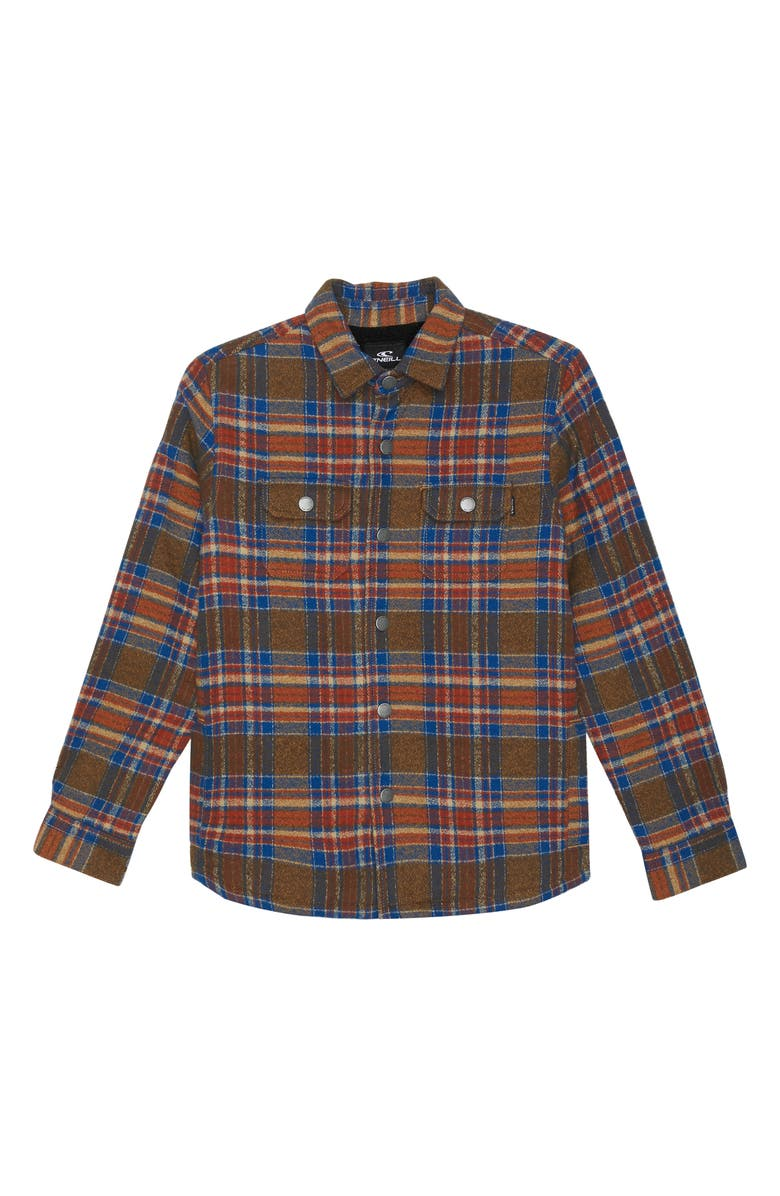 O'NEILL Flanders Fleece Lined Flannel Jacket, Main, color, ARMY GREEN