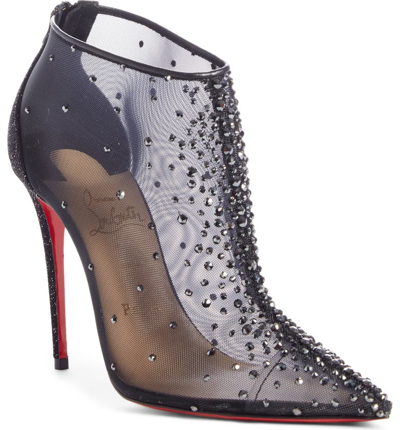 CHRISTIAN LOUBOUTIN Constella Crystal Mesh Bootie, Main, color, SHEER BLACK