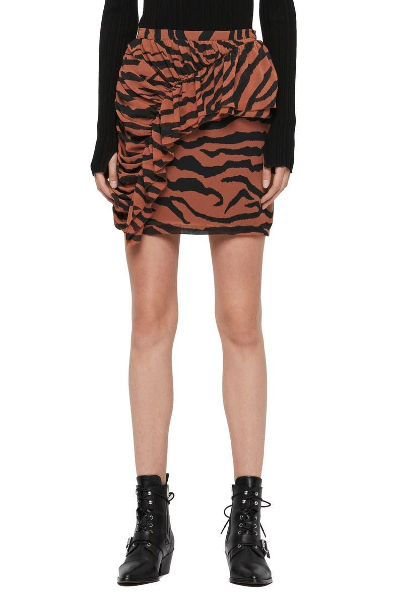 ALLSAINTS Nia Zephyr Miniskirt, Main, color, TOFFEE BROWN/ BLACK
