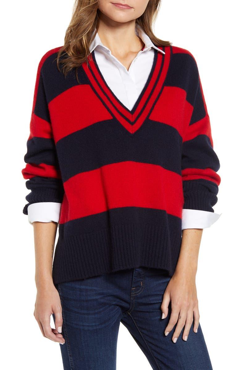 TOMMY HILFIGER V-Neck Stripe Sweater, Main, color, SKY CAPTAIN/ SCARLET