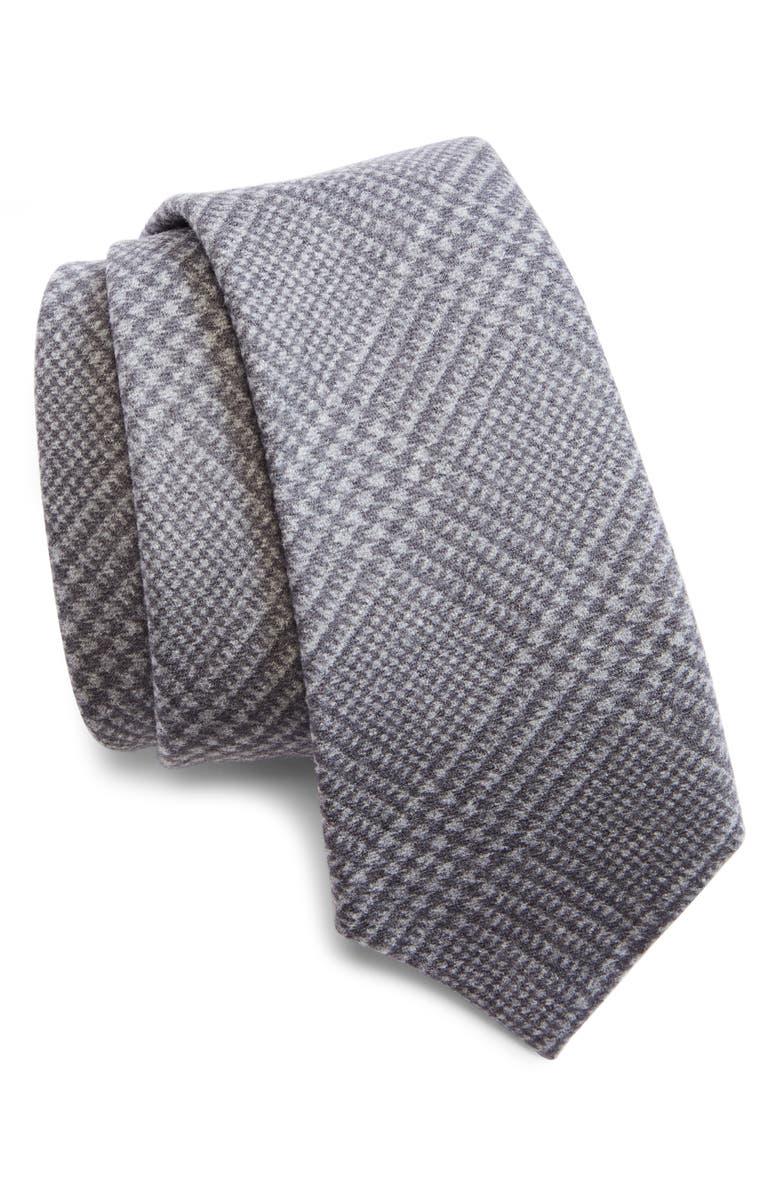 BRUNELLO CUCINELLI Plaid Wool Tie, Main, color, MEDIUM GREY